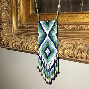 Jewelry - Hand beaded necklace w beaded fringe